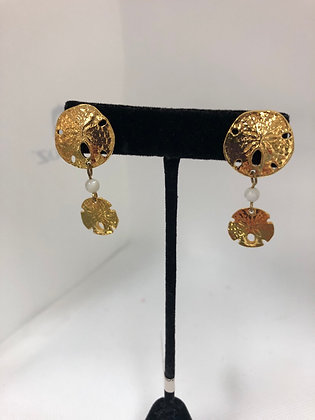 Sand Dollar Gold Plated Earrings