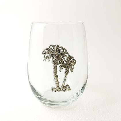 Palm Tree Stemless Wine Goblet 21 oz copyright by Maurice Milleur