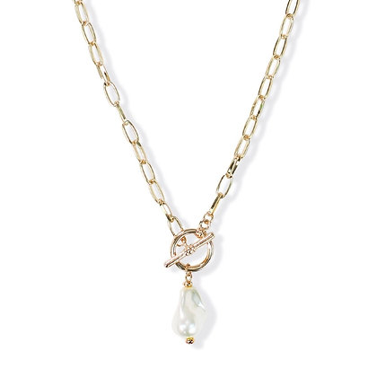 Gold Link Chain with Pearl Necklace
