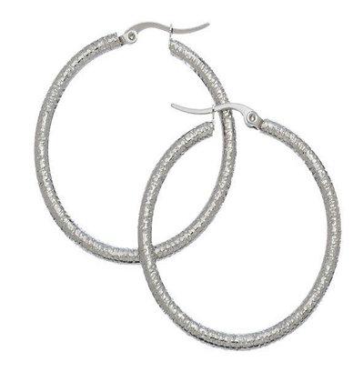Large Textured Hook Earrings - Steel