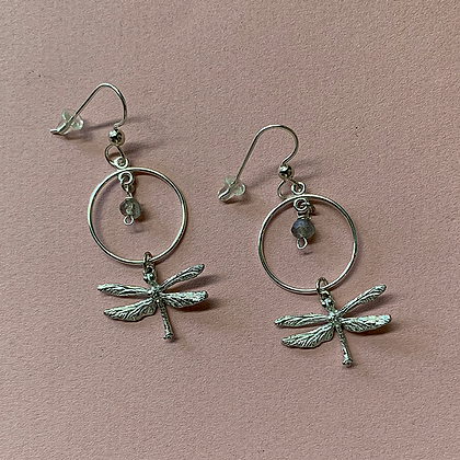Dragonfly Earrings with Labradorite Hoop copyright by Maurice Milleur