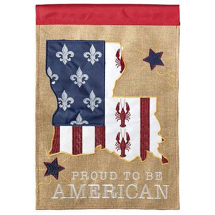 Proud to be American Fleur de Lis House Flag 29 x 42