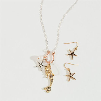 Mermaid Charm Cluster Necklace Set