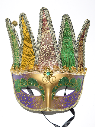 """Mardi Gras Mask with Horns 8.5"""" x 8"""""""