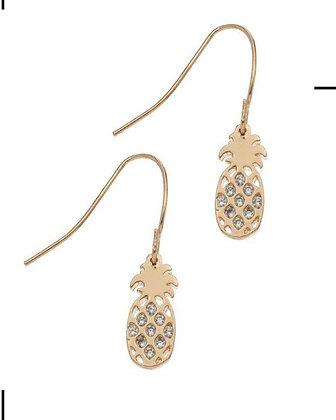 Gold Pineapple Crystal Earrings
