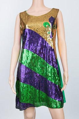 Mardi Gras Fleur de Lis Sequin Dress