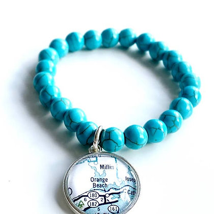 Orange Beach Map Bracelet Turquoise