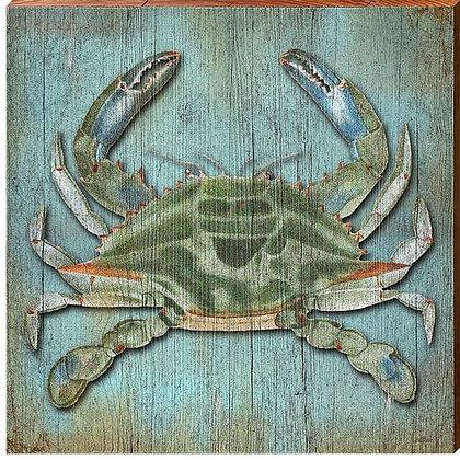 """Blue Coastal Blue Crab Sign 5.5"""" x 5.5"""""""