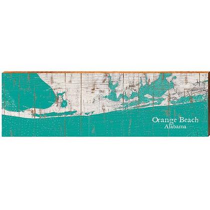 Orange Beach Alabama Shabby Teal Tween Map Sign
