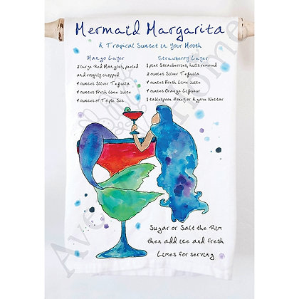 Mermaid Margarita Recipe Kitchen Towel