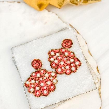 Pearl Shell Beaded Earrings Coral