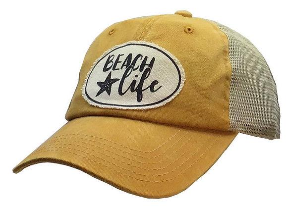Beach Life Yellow Distressed Trucker Cap