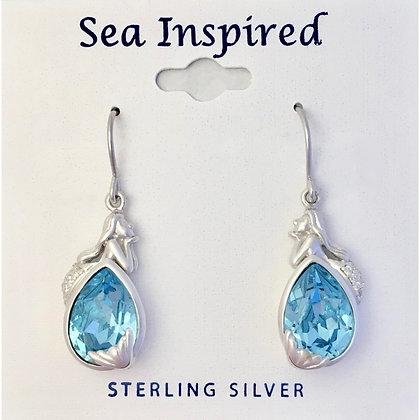 Mermaid Dangle Earrings with Swarovski Crystal