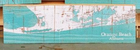 Orange Beach Shabby Small Wood Map