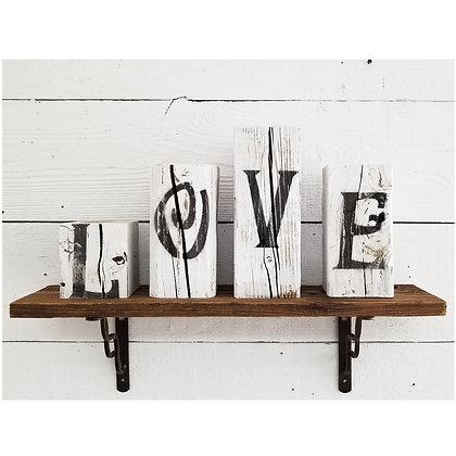 Reclaimed Wood Block LOVE Sign