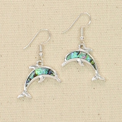 Sleek Silver and Abalone Dolphin Earrings