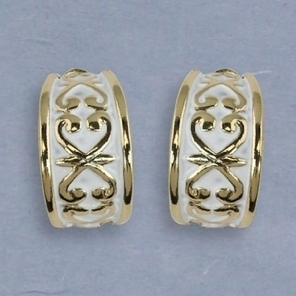 Gold Hoops with White Wash Clip Earrings