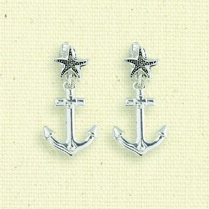 Starfish Post Clip Earrings with Anchor Drops