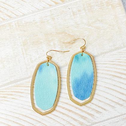 Textured Tie Dye Blue Earrings