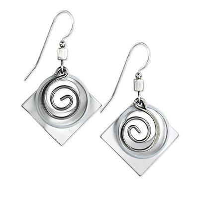 Silver Square with Coil Drop Earrings