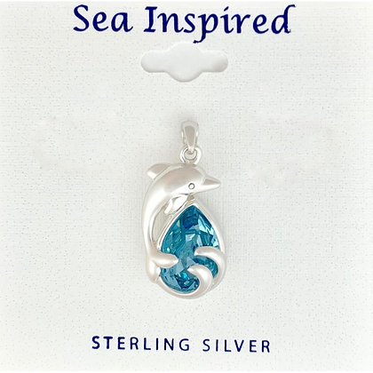 Dolphin Pendent with Swarovski Crystal