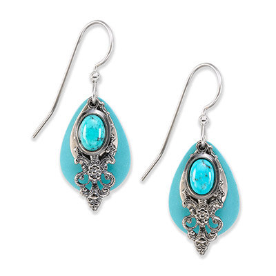 Silver Patina Turquoise Oval Drop Earrings