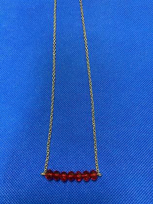 Beaded Bar Necklace Dark Red