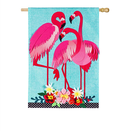 Flamingo Garden House Flag 28x44