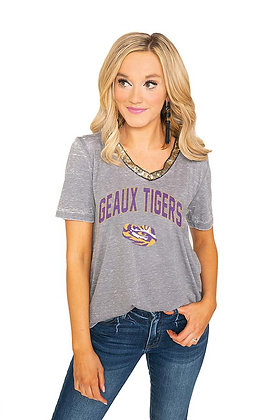 LSU Tigers Vintage Sparkle V-Neck Top