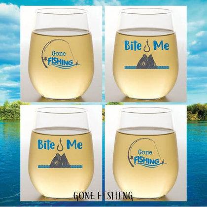Fishing Shatterproof Wine Glass - set of 2