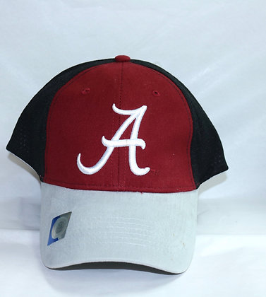 Black, Red and Grey Alabama Baseball Cap with Script A