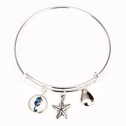 Seahorse Button Bracelet with Starfish