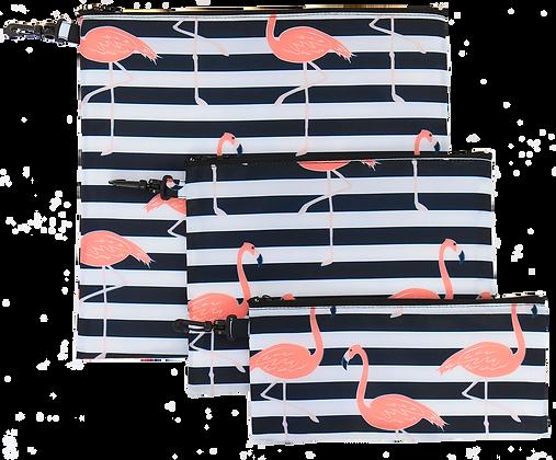 Black Flamingos Pouch Set