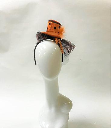 Halloween - Black & Orange Circle Top Hat Hair Band