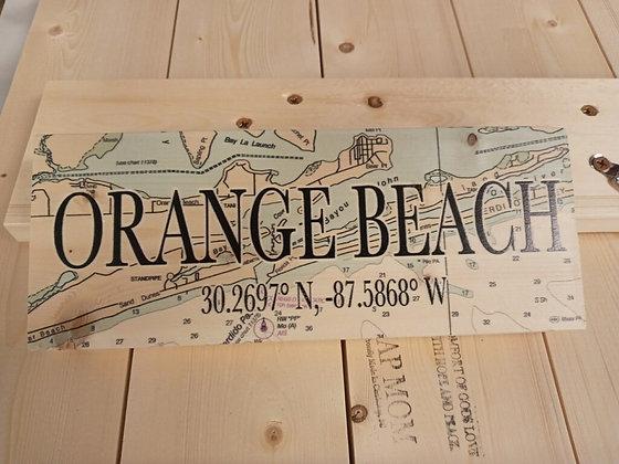 Orange Beach, AL 3x9 Inch Wood Mini Map Coordinate Sign