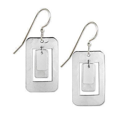 Siver Rectangle in Rectangle Drop Earrings