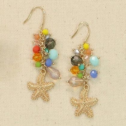 Gold Starfish Multi Bead Earrings
