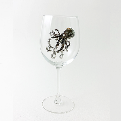 Octopus White Wine Glass cooyright by Maurice Milleur