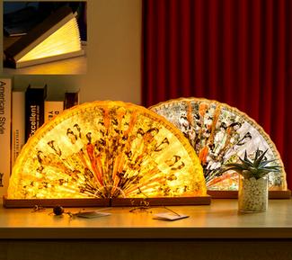 Foldable fan shaped paper light