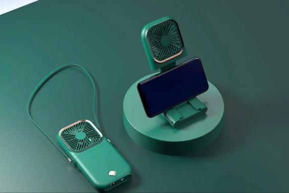 Mini Halter Folding Fan + Powerbank + mobile stand