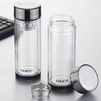 double wall glass bottle with tea filter
