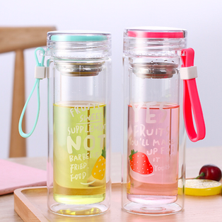 Double glass with tea holder