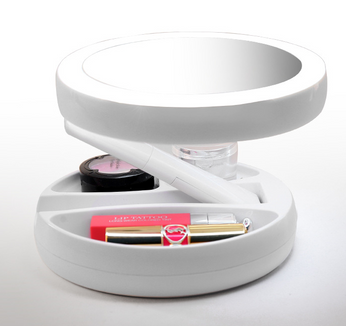 Foldable LED make up mirror with storage box