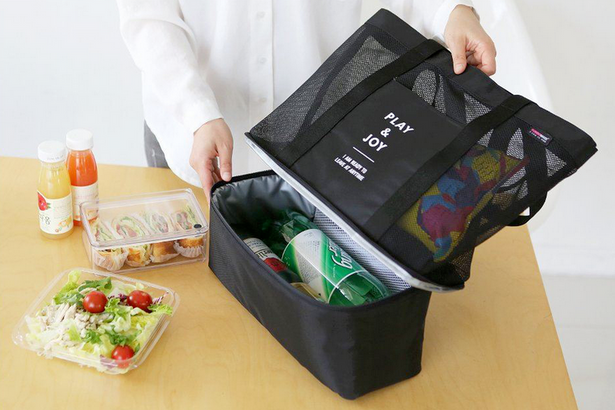 Shopping bag with cooling bag