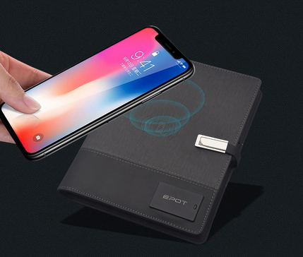 Wireless charger +USB + LED logo notebook