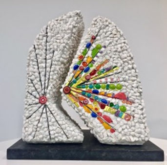Let's Celebrate. Bright glass mosaic lines converge in a white marble field. two-piece abstract mosaic sculpture, granite base.