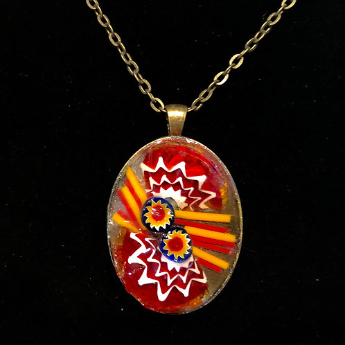 Oval mosaic necklace