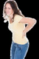 Dor lombar  mulher com lombalgia