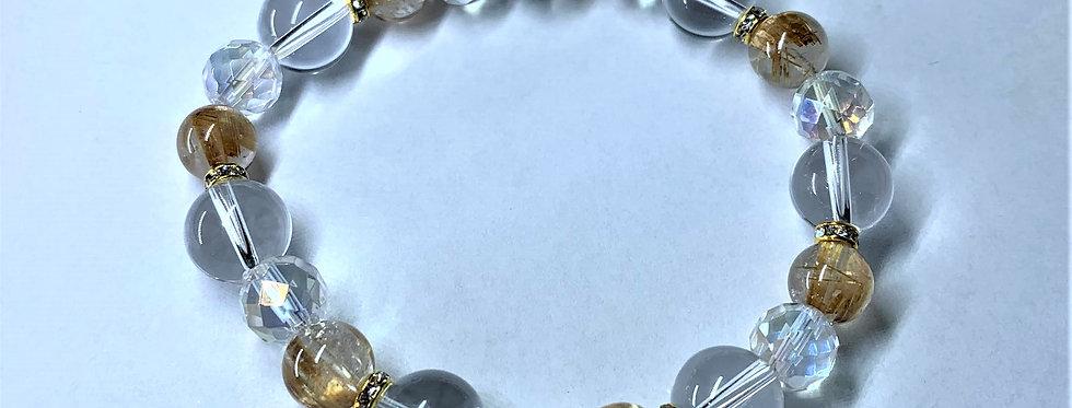 金運アップと、困難を乗り越える強さを与えるブレス〈ルチルクォーツAAA&水晶HQ〉〉