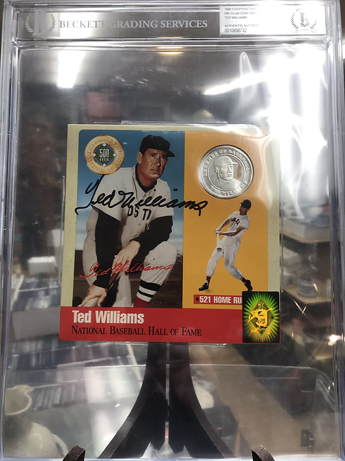Ted Williams Autographed 1990 Cooperstown Commemorative 500 Club Coin BGS